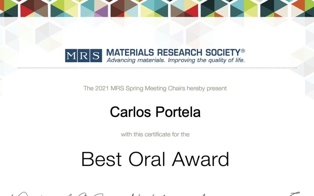 'Best Oral Presentation' at MRS Spring 2021
